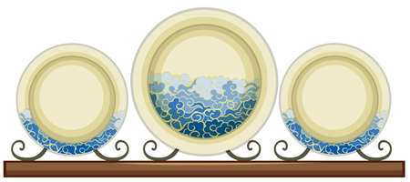 chinaware: Antique ceramic plates with painted waves illustration Illustration