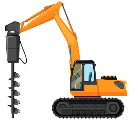 drill: Tractor with drill for digging hole illustration