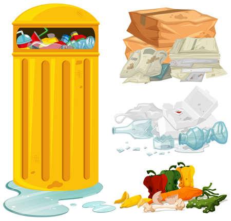 Dirty trash and garbage bin illustration