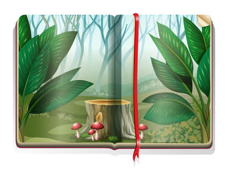 fog forest: Book with forest scene illustration