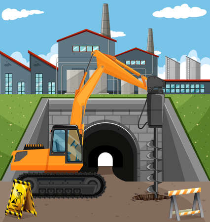 building site: Road construction scene with driller illustration Illustration
