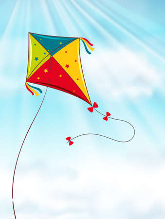 Colorful kite flying in blue sky illustration
