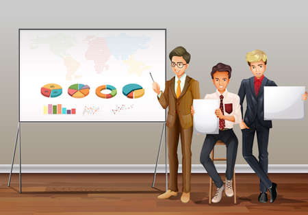 business meeting: Businessmen and presentation charts illustration