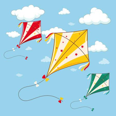 paper kites: Three colorful kites in the blue sky illustration Illustration