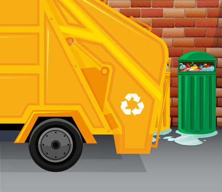 garbage truck: Garbage truck picking up trash illustration