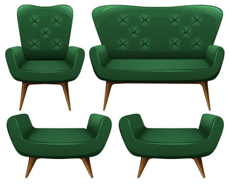 wood chair: Sofa and chair in green color illustration Illustration