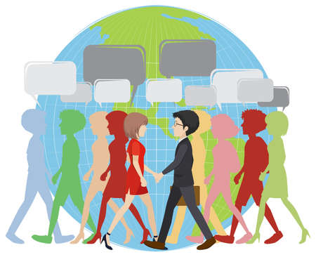 Infographic with people walking on earth illustration