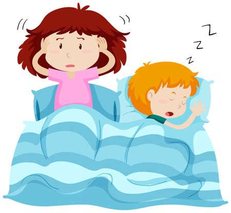 Two kids under blanket illustration