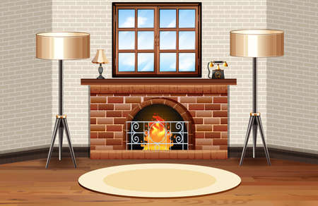 drawing room: Room scene with fireplace and lamps illustration