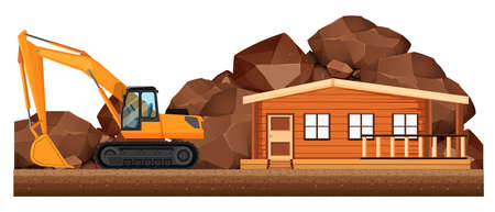 construction site: Excavator working on house construction site illustration Illustration