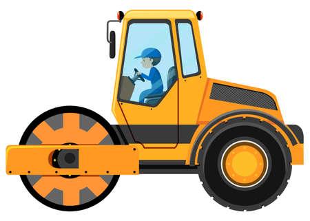 steamroller: Man driving road roller illustration