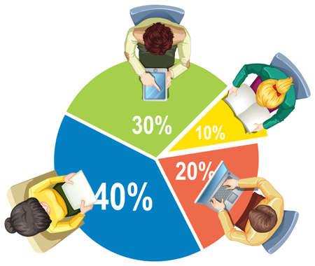 Infographic with piechart and business people illustration Illustration