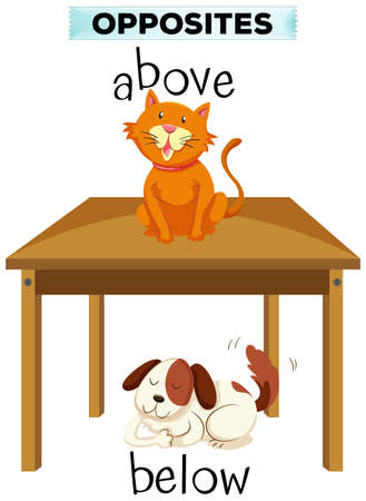 below: Opposite words for above and below illustration