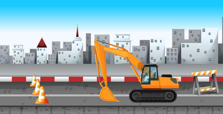Excavator working at the road construction illustration Illustration