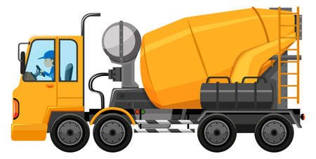 engine: Man driving cement mixer truck illustration