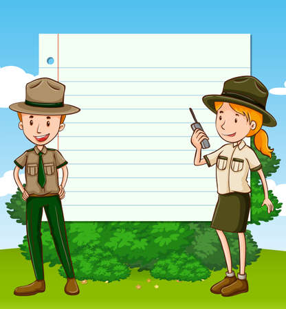 Two park rangers and paper template illustration