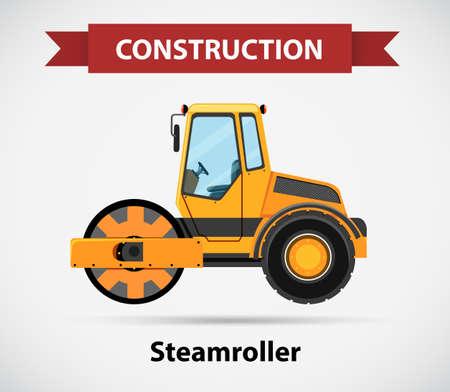 steamroller: Construction icon for steamroller illustration