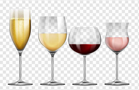 Four different kinds of wine glasses illustration Vectores