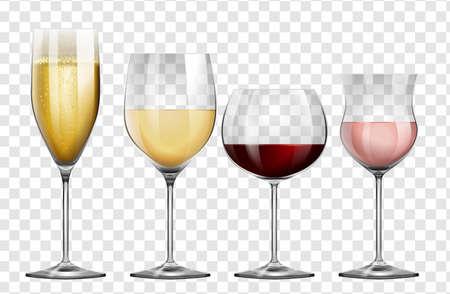 transparen: Hay cuatro tipos diferentes de copas de vino ilustración