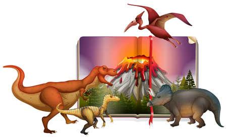Diferentes tipos de dinosaurios en la ilustración del libro