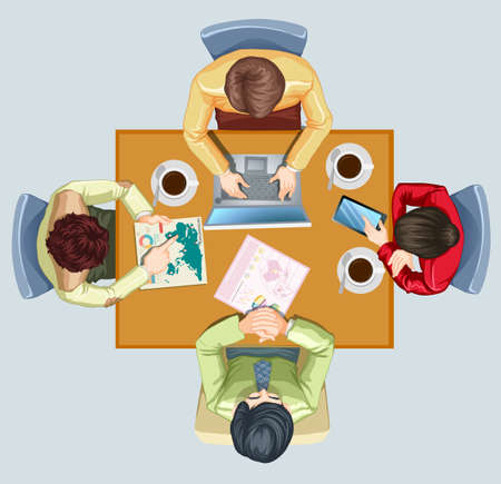 four people: Four people having meeting at the table illustration Illustration