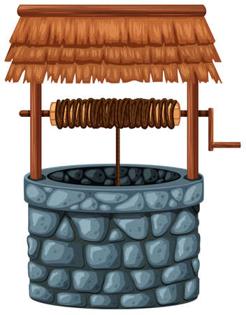 brich: Stone well on white background illustration Illustration