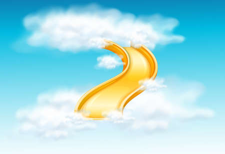 clouds: Yellow slide in the fluffy clouds illustration