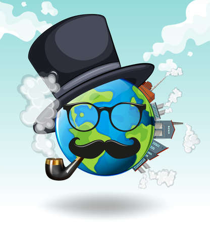 sky: Earth wearing glasses and hat illustration