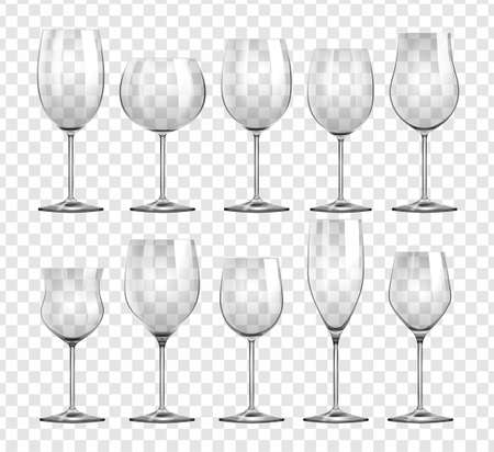 alcohol series: Different types of wine glasses illustration