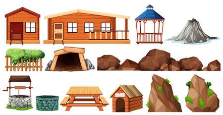 Set of house and gardening illustration
