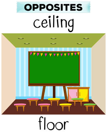 elementary schools: Flashcard for opposite words ceiling and floor illustration Illustration