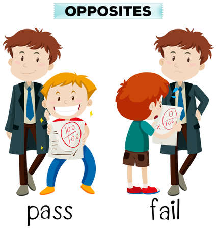 Opposite words for pass and fail illustration