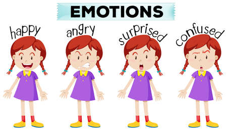 multiple: Girl with four different emotions illustration Illustration