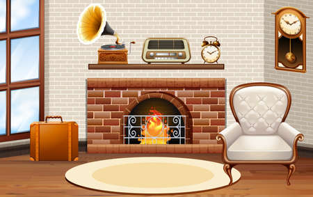 living room wall: Room with fireplace and vintage furniture illustration