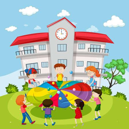 niño escuela: Los niños que juegan bolas en ilustración de la escuela