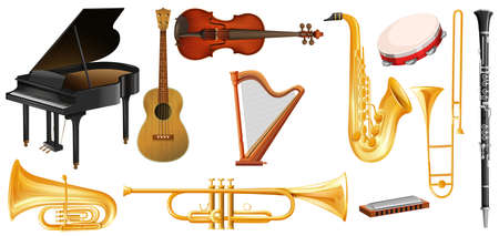 Different types of classical music instruments illustration