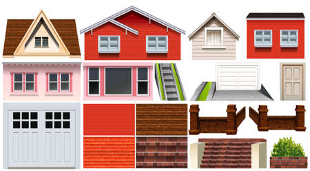 architect drawing: Different design of house and other house elements illustration Illustration