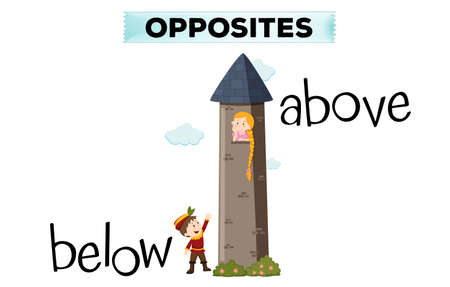 fantacy: Opposite words for below and above illustration Illustration
