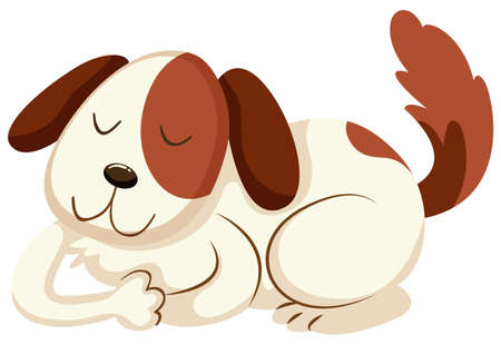 dog: Little puppy with brown and white fur illustration