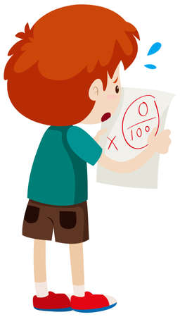 Boy with zero score on paper illustration