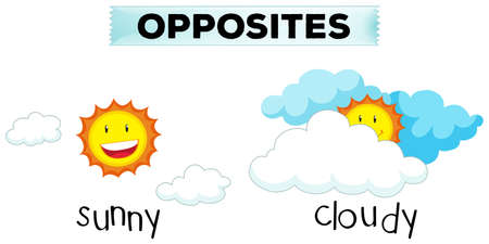 opposite: Opposite words for sunny and cloudy illustration