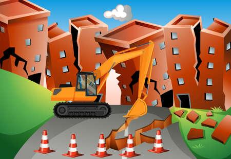 earthquake: Earthquake scene with bulldozer and buildings illustration