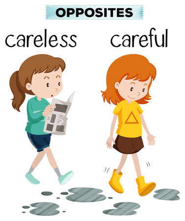 Opposite words for carelss and careful illustration 向量圖像