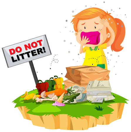 garbage bag: Little girl and litter pile illustration
