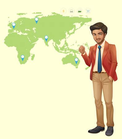 Businessman and locations on worldmap illustration Illustration