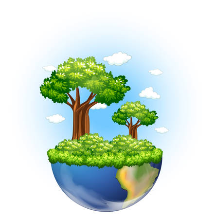 the greenhouse effect: Green trees growing on earth illustration Illustration