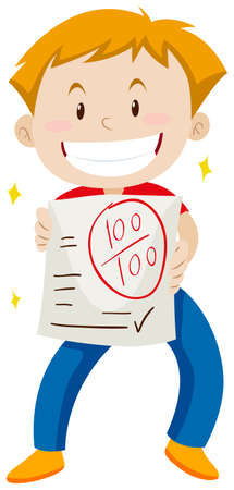 scores: Boy with hundred scores on the paper illustration