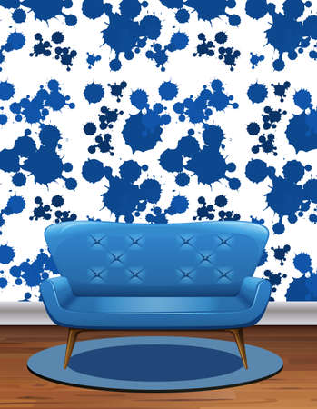 Blue sofa in room with blue splash wallpaper illustration