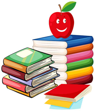 storybook: Stack of books with apple on top illustration