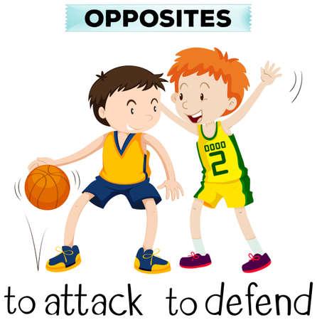 defend: Opposite words for attck and defend illustration Illustration